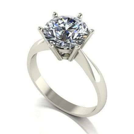 Forever One Moissanite 18ct White Gold 3.00 Carat Round Brilliant Solitaire Ring
