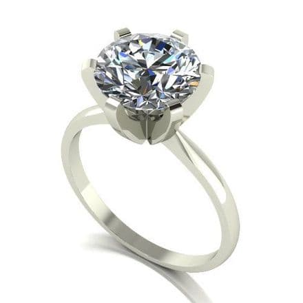 Forever One Moissanite 18ct White Gold 3.00 Carat Solitaire Ring