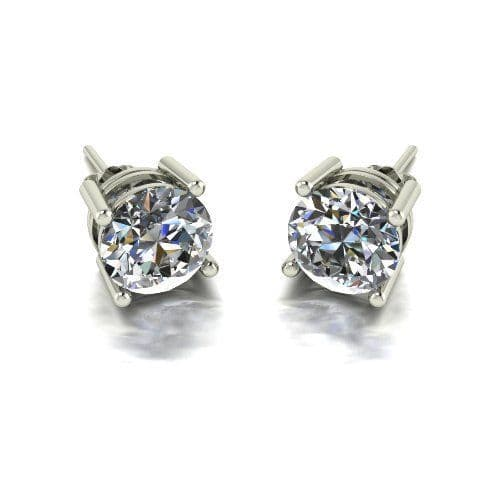 Forever One Moissanite 18ct White Gold 4.00 Carat Four Claw Solitaire Earrings