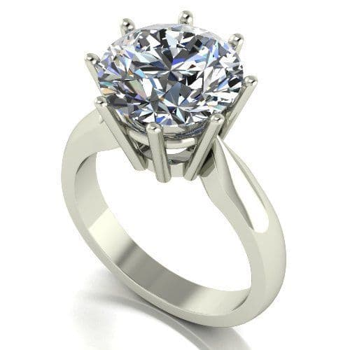 Forever One Moissanite 18ct White Gold 5.00 Carat Round Brilliant Solitaire Ring