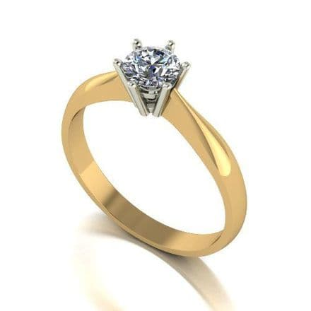 Forever One Moissanite 18ct Yellow Gold 0.50 Carat Round Brilliant Solitaire Ring