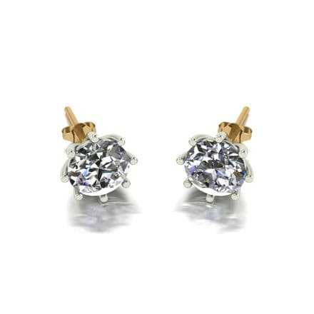 Forever One Moissanite 18ct Yellow Gold 1.00 Carat Eight Claw Solitaire Earrings
