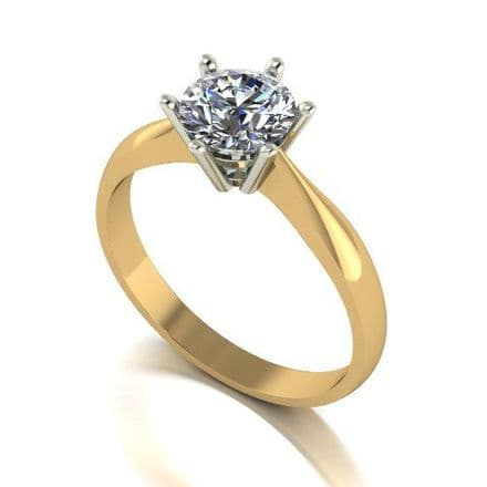 Forever One Moissanite 18ct Yellow Gold 1.00 Carat Round Brilliant Solitaire Ring