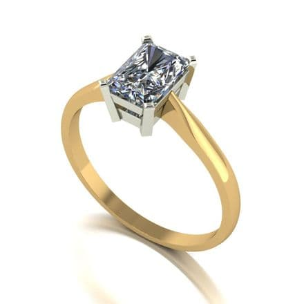 Forever One Moissanite 18ct Yellow Gold 1.18 Carat Emerald Cut Solitaire Ring