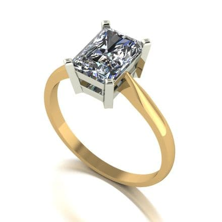 Forever One Moissanite 18ct Yellow Gold 1.92 Carat Emerald Cut Solitaire Ring