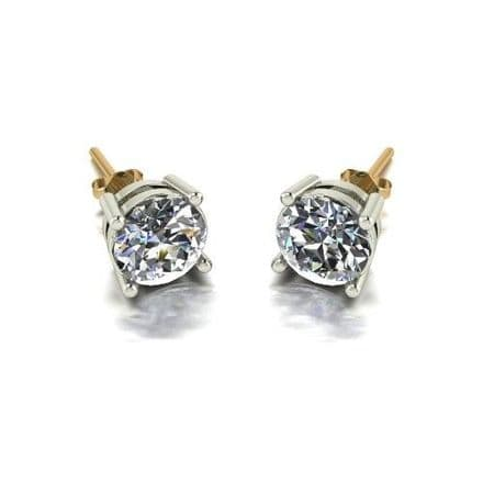 Forever One Moissanite 18ct Yellow Gold 2.00 Carat Four Claw Solitaire Earrings