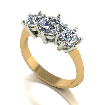 Forever One Moissanite 18ct Yellow Gold 2.00 Carat Trilogy Ring