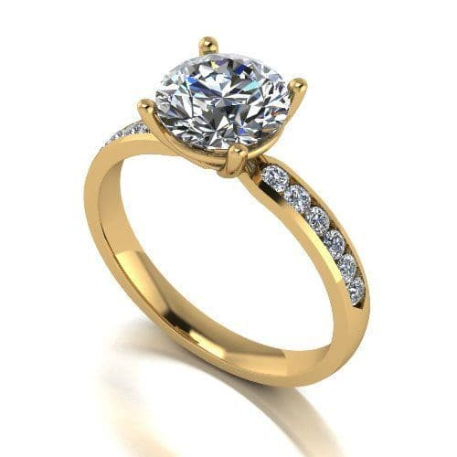 Forever One Moissanite 18ct Yellow Gold 2.30 Carat Four Claw Shoulder Set Ring