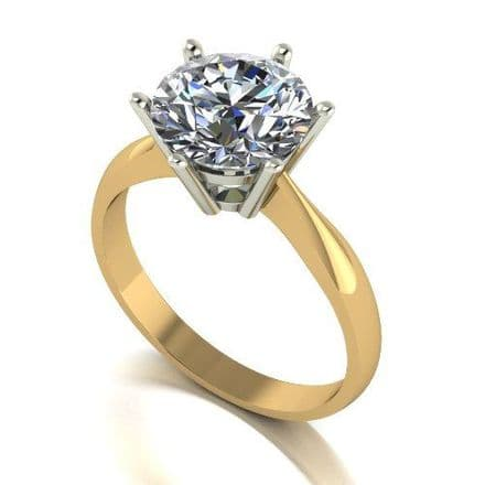 Forever One Moissanite 18ct Yellow Gold 3.00 Carat Round Brilliant Solitaire Ring