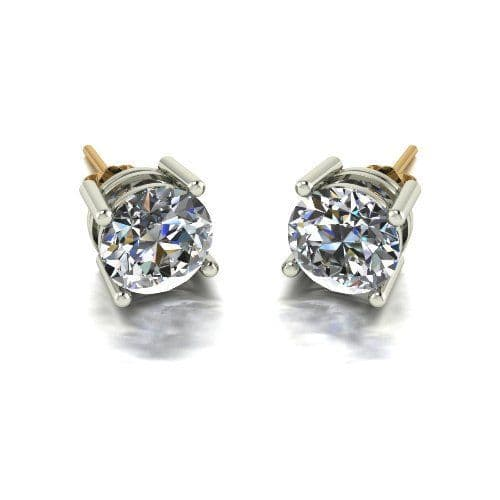 Forever One Moissanite 18ct Yellow Gold 4.00 Carat Four Claw Solitaire Earrings
