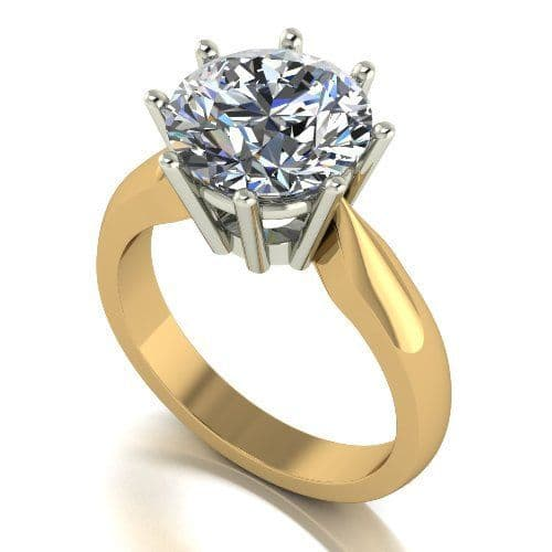 Forever One Moissanite 18ct Yellow Gold 4.00 Carat Round Brilliant Solitaire Ring