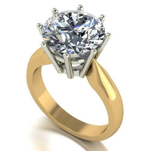 Forever One Moissanite 18ct Yellow Gold 5.00 Carat Round Brilliant Solitaire Ring