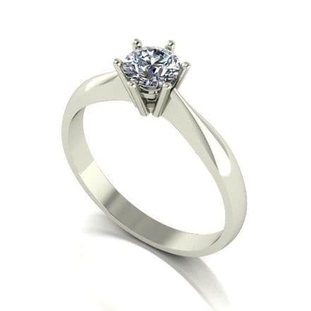 Forever One Moissanite Platinum 0.50 Carat Round Brilliant Solitaire Ring