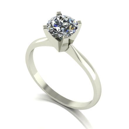 Forever One Moissanite Platinum 1.00 Carat Four Claw Solitaire Ring