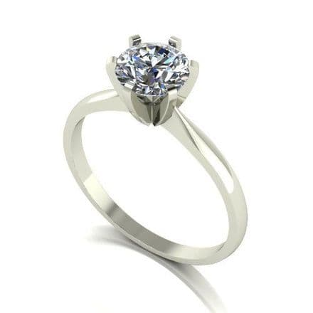 Forever One Moissanite Platinum 1.00 Carat Six Claw Solitaire Ring