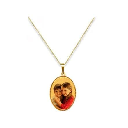 Personalised 9ct Yellow Gold Oval 25mm Photograph Pendant