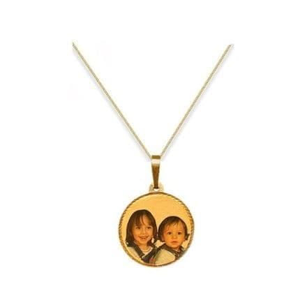Personalised 9ct Yellow Gold Round 21mm Photograph Pendant