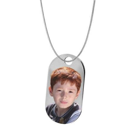Personalised Sterling Silver Dog Tag 45mm Photograph Pendant
