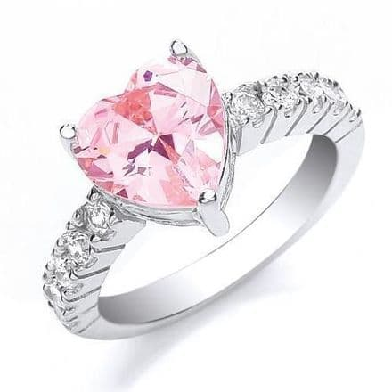 Silver Heart Cut Pink & White Cubic Zirconia Ring