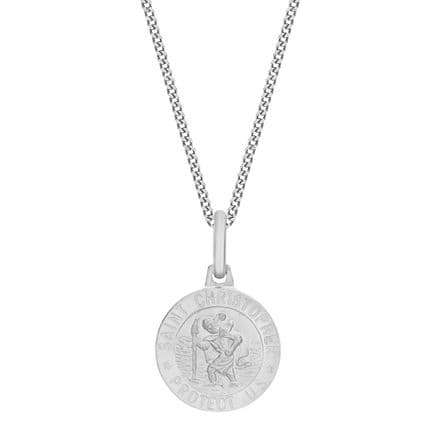 Sterling Silver 12mm St Christopher Round Satin Pendant