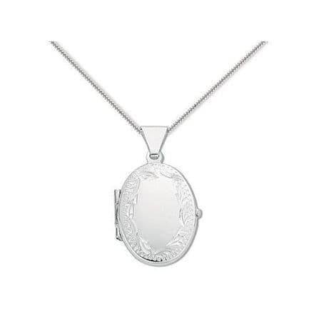 Sterling Silver 18mm Patterned Edge Oval Locket