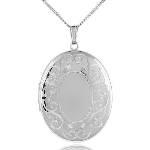 Sterling Silver 25mm Edge Patterned Oval Shaped Locket