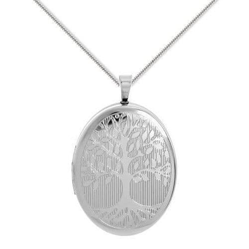 Sterling Silver 25mm Tree Of Life Oval Locket