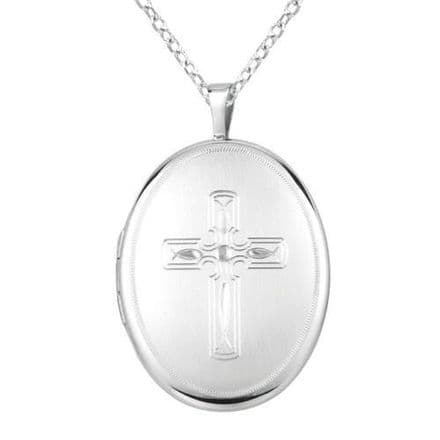 Sterling Silver 30mm Engraved Cross Oval Locket