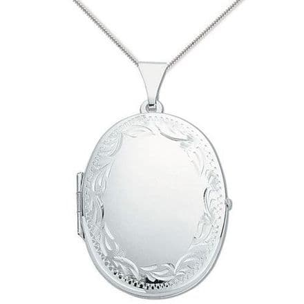 Sterling Silver 32mm Patterned Edge Oval Locket
