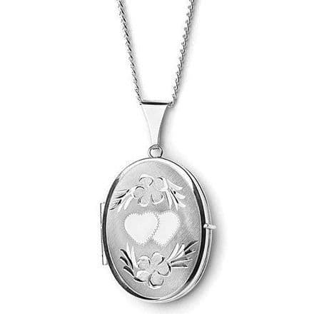 Sterling Silver 35mm Heart Engraved Oval Shaped Family Locket
