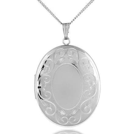 Sterling Silver 40mm Edge Patterned Oval Shaped Locket
