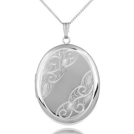 Sterling Silver 40mm Patterned Oval Locket