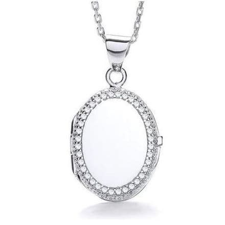 Sterling Silver Cubic Zirconia Edged Oval Locket