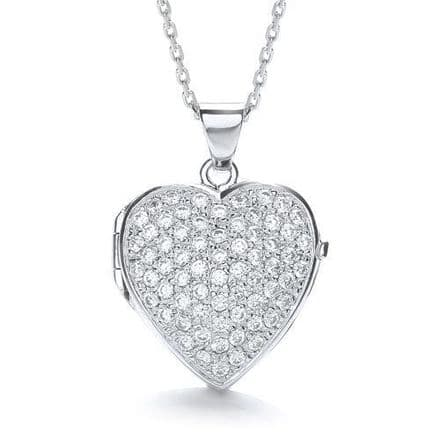 Sterling Silver Cubic Zirconia Large Heart Shaped Locket