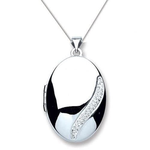 Sterling Silver Cubic Zirconia Wave Design Oval Locket