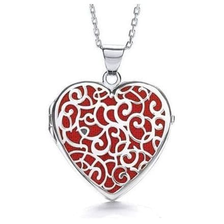 Sterling Silver Cut Out Heart Shaped Red Locket