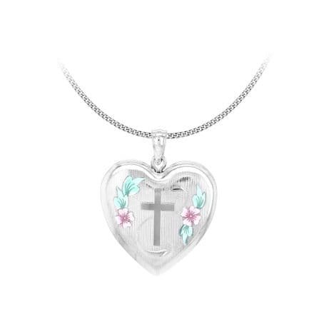 Sterling Silver Etched Cross & Rose Heart Family Locket