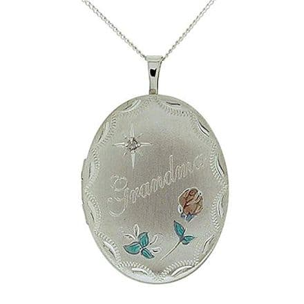 Sterling Silver Etched 'Grandma' Rose Oval Locket