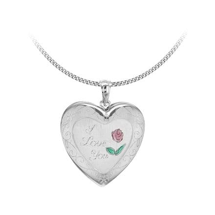 Sterling Silver Etched 'I Love You' Rose Heart Family Locket