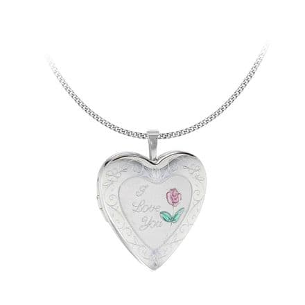 Sterling Silver Etched 'I Love You' Rose Heart Locket