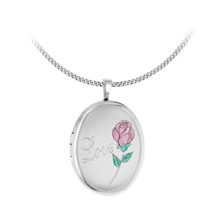 Sterling Silver Etched 'Love' & Rose Oval Locket