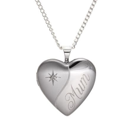 Sterling Silver Etched 'Mum' Diamond Heart Family Locket