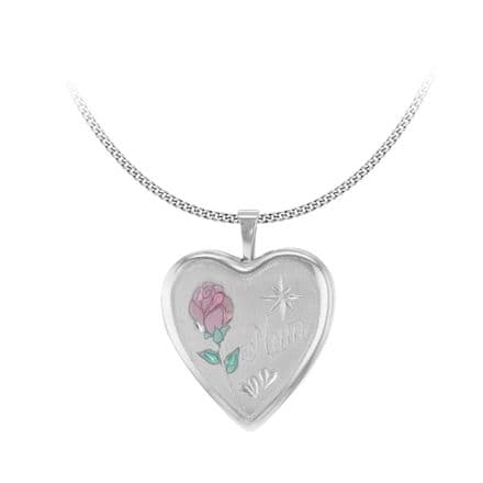 Sterling Silver Etched 'Mum' Rose Heart Locket