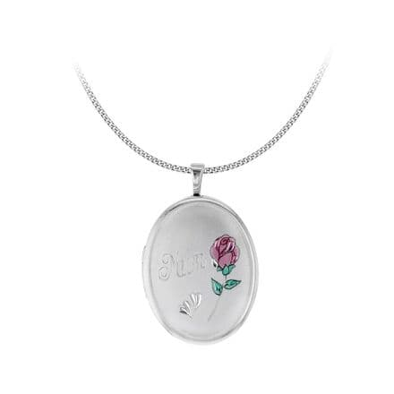 Sterling Silver Etched 'Mum' & Rose Oval Locket