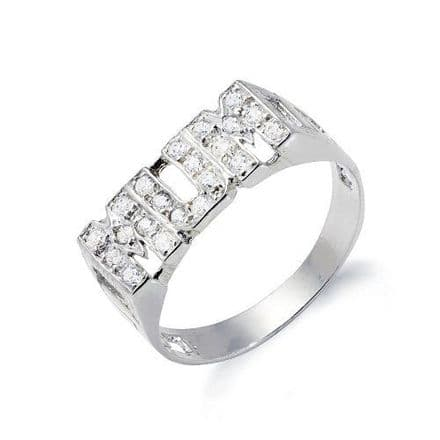 Sterling Silver ID Sides CZ Mum Ring