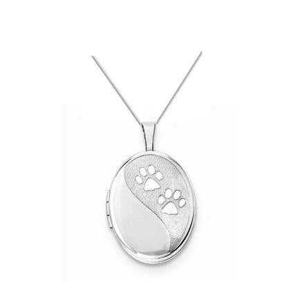 Sterling Silver Pets Paw Print Oval Locket
