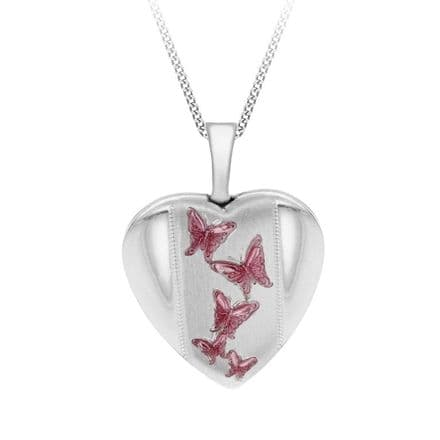 Sterling Silver Pink Etched Butterfly Detail Heart Locket