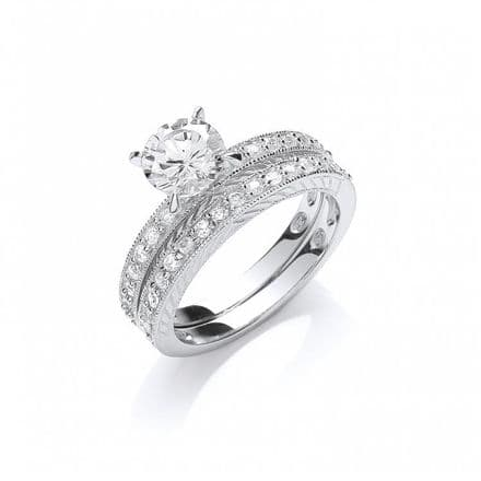 Sterling Silver Round Cubic Zirconia Bridal Set