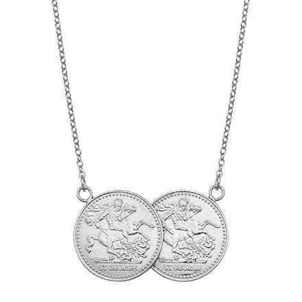Sterling Silver St George Half Two Coin Holly Necklace