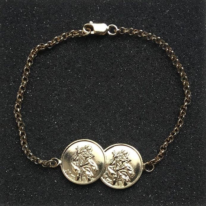 Yellow Gold Plated Sterling Silver St Christopher Two Coin Bracelet